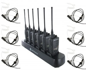 Motorola RDX RDU4160d Radio Six Pack + Multi-Charger + Surveillance Earpieces