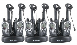 Midland GXT1000VP4 Walkie Talkie Six Pack + Wall Chargers + Car Chargers + Headsets