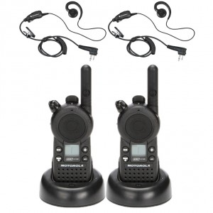 Motorola CLS1110 Radio Two Pack + Two Swivel Earpieces