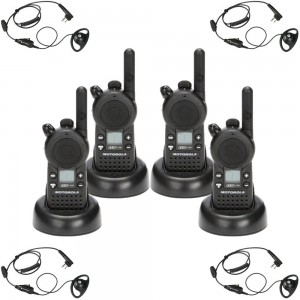 Motorola CLS1110 Radio Four Pack + Four D-Ring Earpieces