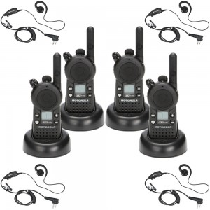 Motorola CLS1110 Radio Four Pack + Four Swivel Earpieces