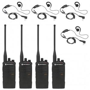 Motorola RDX RDU4100 Radio Four Pack + Four Swivel Earpieces