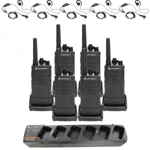 Motorola RM RMU2080 Radio Six Pack + Multi-Charger + Six Swivel Earpiece