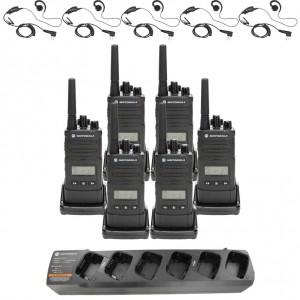 Motorola RM RMU2080d Radio Six Pack + Multi-Charger + Six Swivel Earpiece
