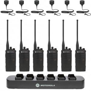 Motorola RDX RDU4100 Radio Six Pack + Multi-Charger +  Six Speaker Microphones