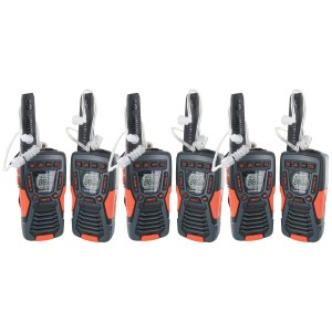 Cobra ACXT1035R FLT Waterproof Walkie Talkie Six Pack + Chargers + Surveillance Earpieces