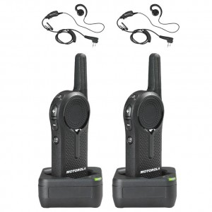 Motorola DLR1020 Radio Two Pack + Two Swivel Earpieces