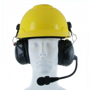 XLT HS500HM Heavy Duty Dual Muff Headset with PTT and Mic for Safety Helmet/Hard Hat