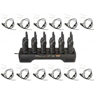 Motorola DLR1020 Radio Twelve Pack + Multi-Charger + Surveillance Earpieces