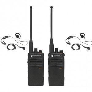 Motorola RDX RDU4100 Radio Two Pack + Two Swivel Earpieces