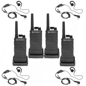 Motorola RM RMM2050 Radio Four Pack + Four Swivel Earpieces