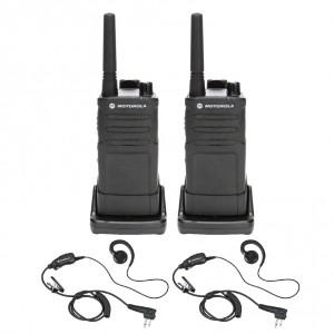 Motorola RM RMM2050 Radio Two Pack + Two Swivel Earpieces