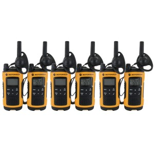 Motorola T402 Walkie Talkie Six Pack + Chargers + Earpieces