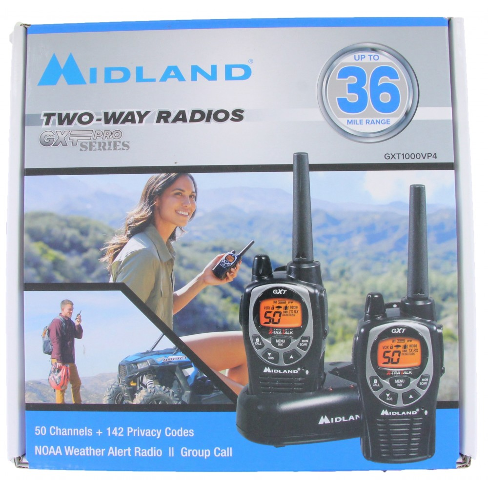 Midland GXT1000VP4 Radios With Headsets and Charger