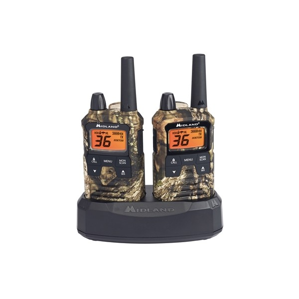 Pair Pack 36 Channel GMRS Two-Way Radio 121 Privacy Codes NOAA Weather Scan Alert Extended Range Walkie Talkie Midland Mossy Oak Camo X-TALKER T295VP4
