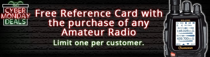 Free Amateur Radio Quick Reference Card with purchase of any amateur radio!