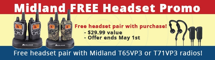 Free Headset Pair with Purchase of Midland T65VP3 or T71VP3 Radios!