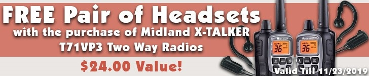Free Headset Pair with Purchase of Midland T71VP3 Radios!