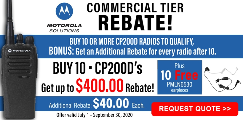 Motorola CP200d $40 Rebate + Free Earpiece Offer!