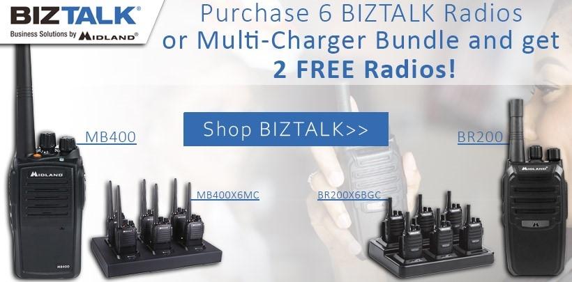 Buy 6 Midland BizTalk Radios or One 6 Pack Bundle and Get 2 Radios Free!