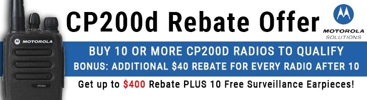 Motorola CP200d $40 Rebate Plus FREE Earpiece Offer