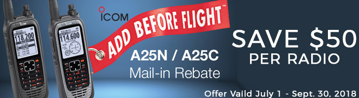 $50 Rebate on Icom A25C and A25N Airband Radios!