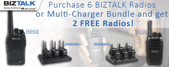 Buy 6 Midland BizTalk radios or 6 radios and multipcharger bundle, Get 2 radios Free!